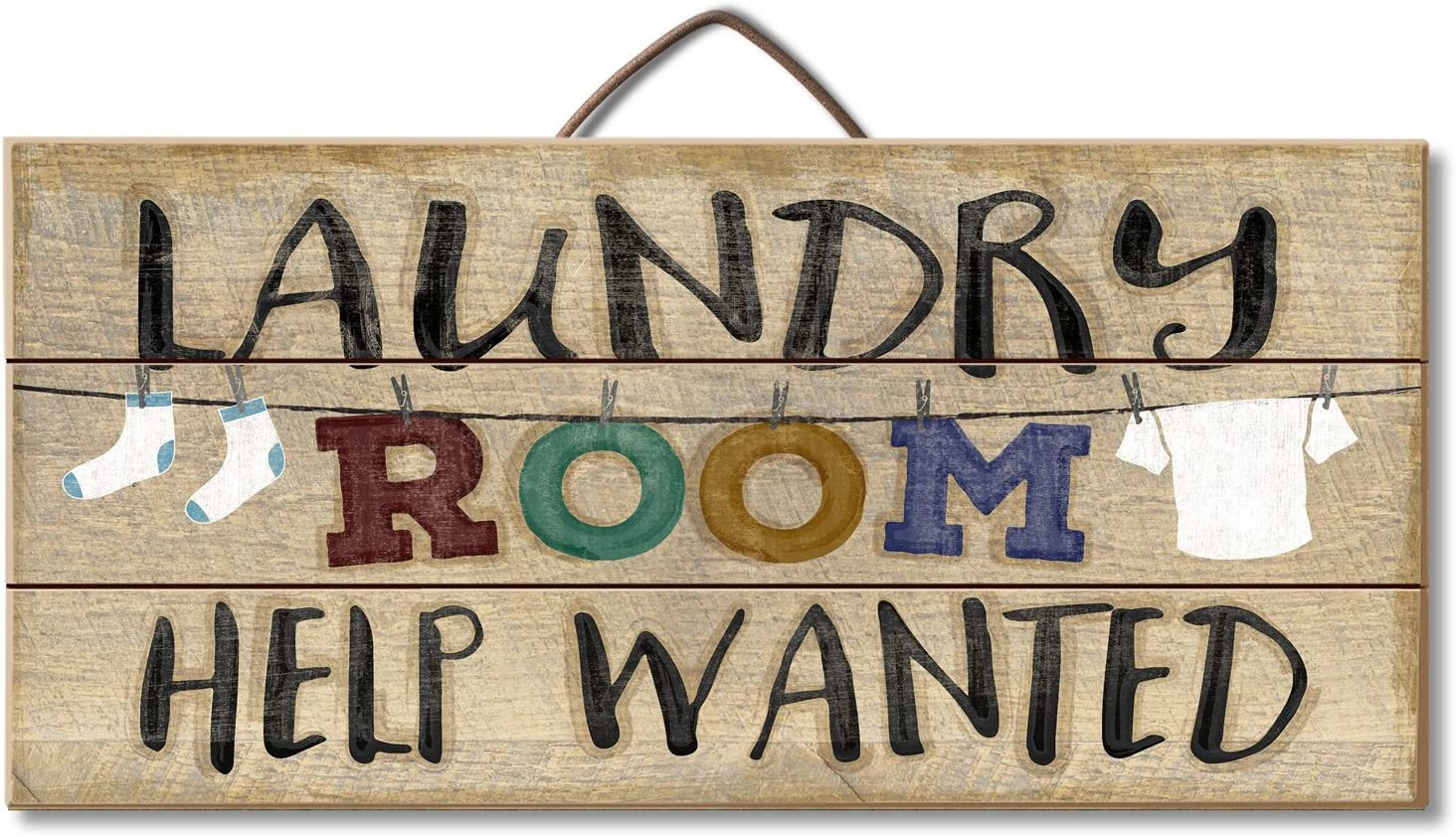 Highland Home Laundry Room Help Wanted Slatted Pallet Wood Sign Made in The USA