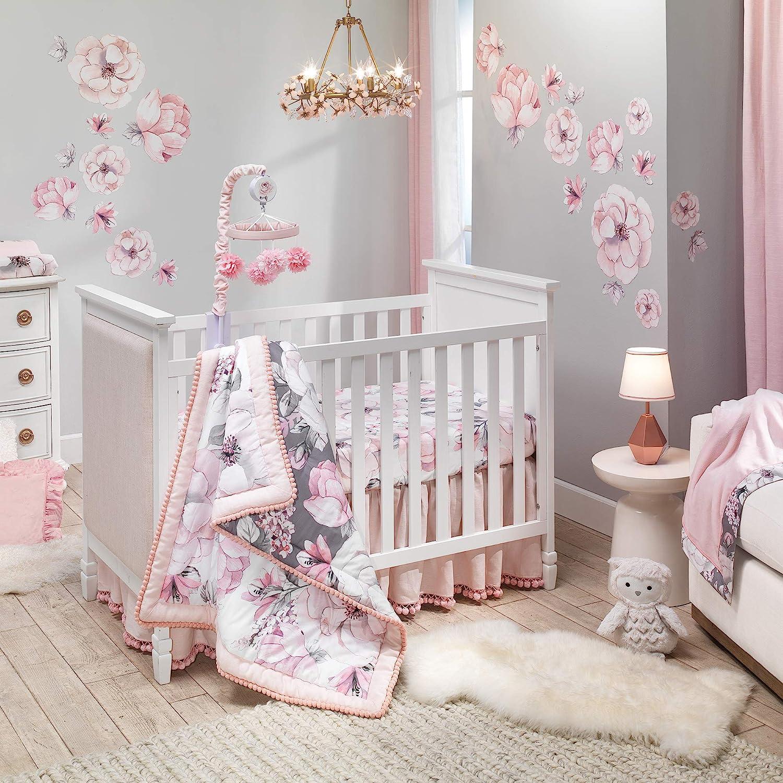 Lambs & Ivy Signature Botanical Baby Watercolor Floral 4-Piece Crib Bedding Set