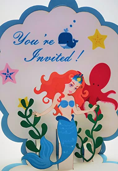 amazon com pop up mermaid birthday invitation with envelopes pack