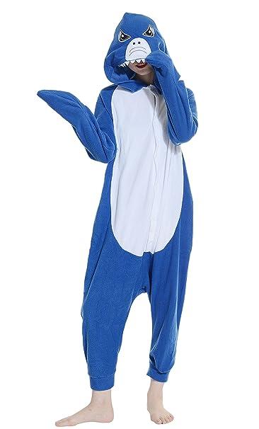 Fandecie Pijama Azul Tiburón, Onesie Modelo Animales para adulto entre 1,60 y 1