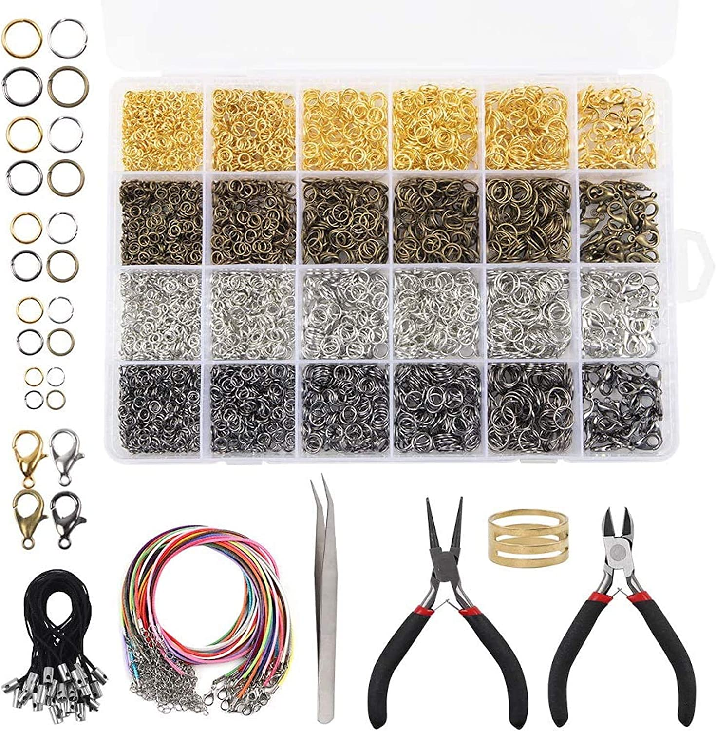 2 Colors 600 Pieces Lobster Clasps and Open Jump Rings Set Jewelry Making Findings Kit for DIY Jewelry Making