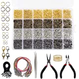 Quefe 4294pcs Jewelry Making Repair Kit with Open Jump Rings, Lobster Clasp, Black Lasso Strap, Colorful Waxed Necklace Cord,