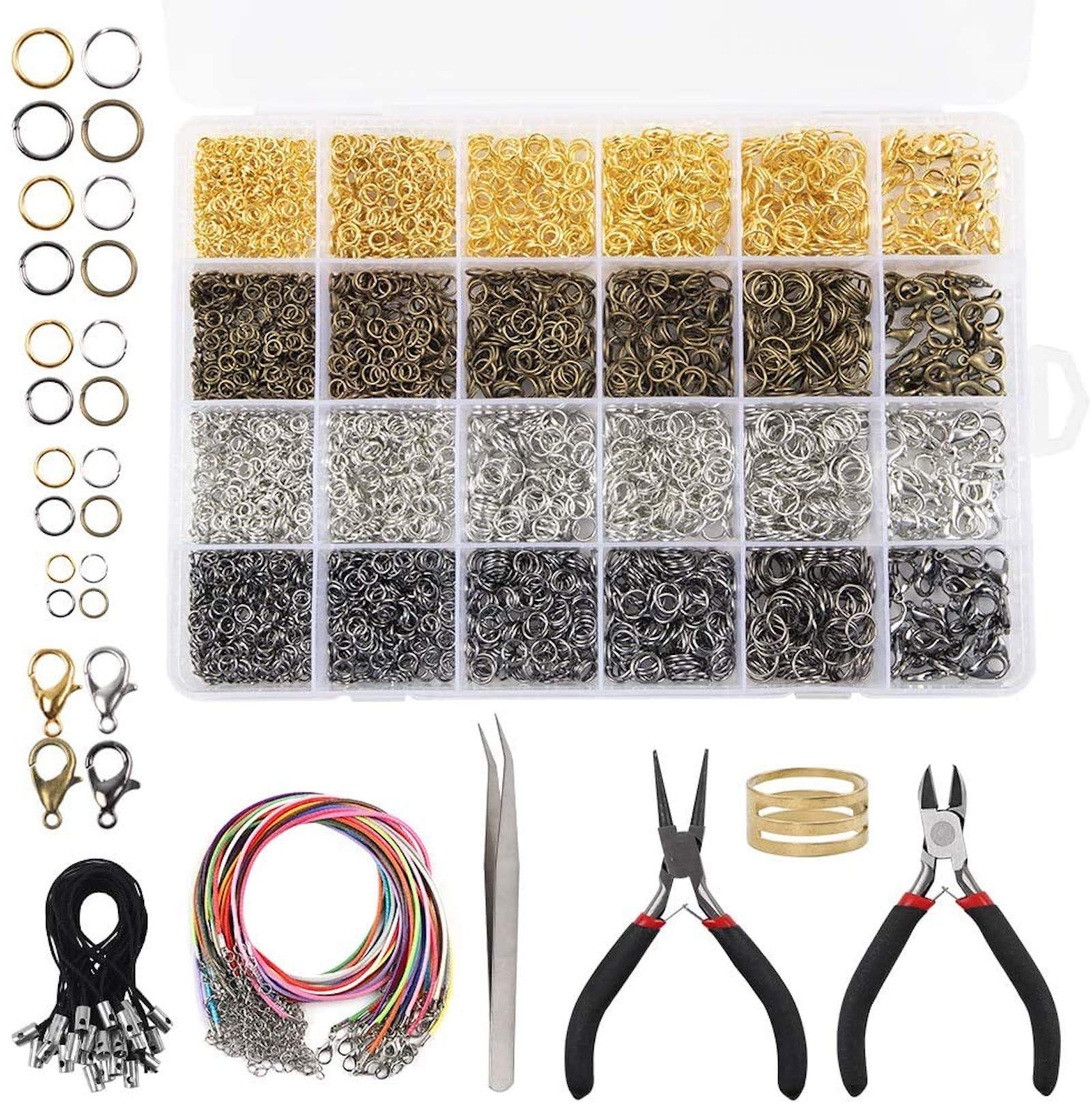 6 Colors Necklaces Repair with 1 Pc Jump Ring Opener and 1 Pc Tweezers BQTQ 3180 Pieces Open Jump Rings Lobster Clasps Kit for Jewelry Making Earrings Bracelets