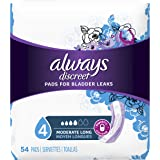 Always Discreet, Incontinence Pads for Women, Moderate, Long Length, 54 Count (Packaging May vary)