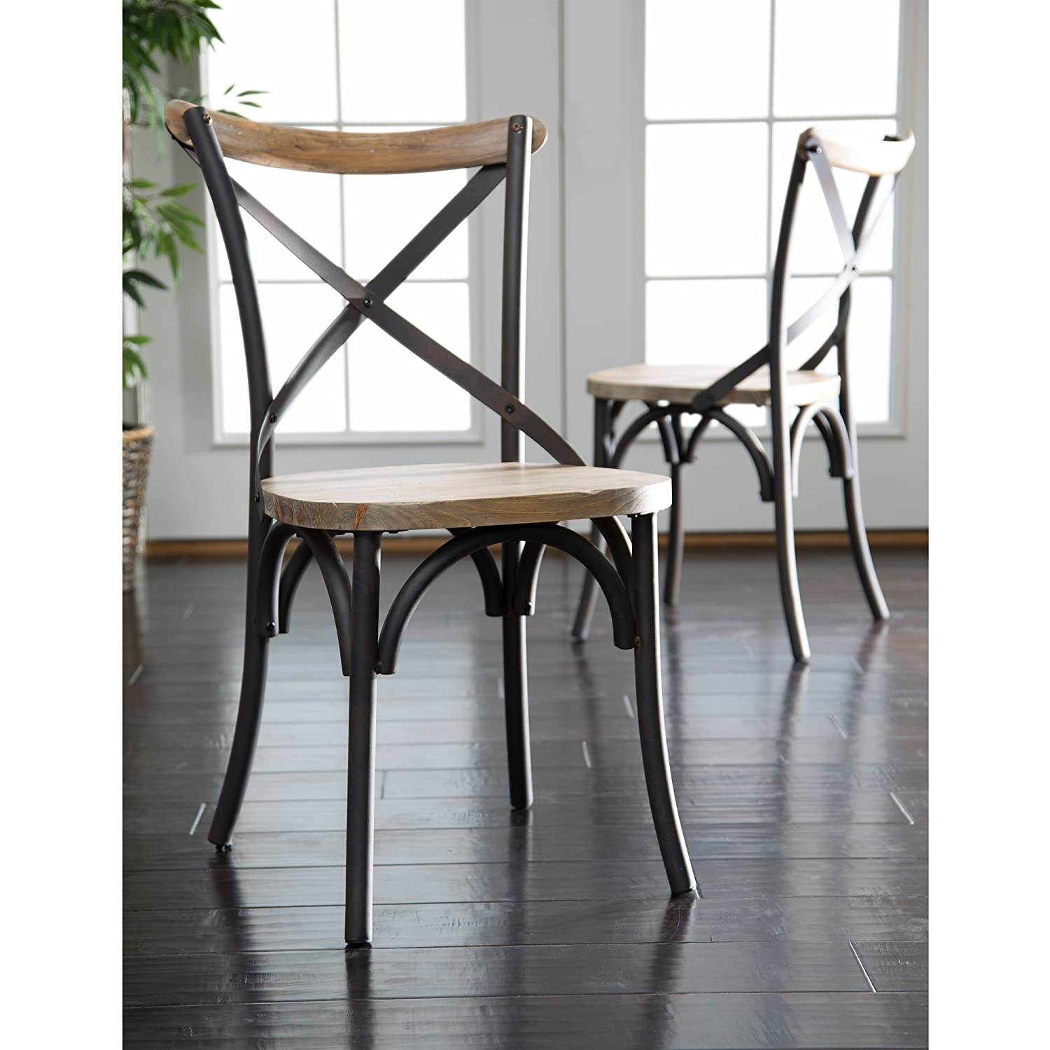 Amazon com we furniture urban reclamation deluxe dining chairs set of 2 chairs