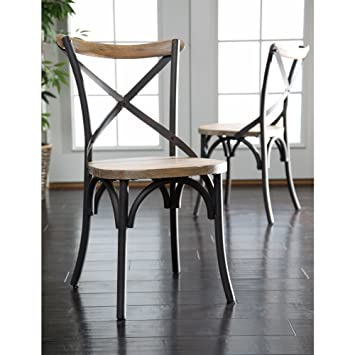 Attractive WE Furniture Industrial Reclaimed Solid Wood Dining Chairs, Set Of 2