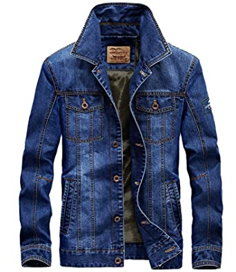 b8f91bf3bbb0 WLITTLE Herren Frühling Herbst Winter Jeansjacke Classic Jacke Denim  Stehkragen Jeans Mantel Jacke Trechcoat Demin Herbst