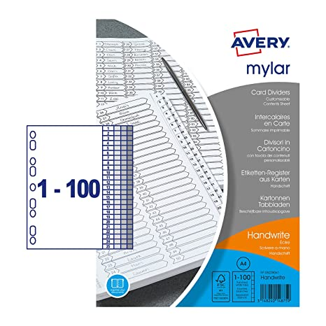 Amazon com : Avery Mylar Reinforced Dividers with Printable Contents
