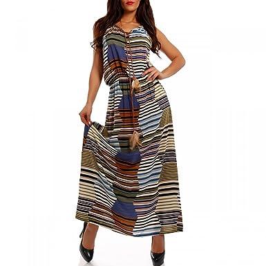 5a28fb7b22a4 Damen Maxikleid Boho Hippie Kleid als Stylisches Strand-Kleid Oder  Party-Kleid - Langes Kleid für Frühling, Sommer und Herbst - Jumper aus  100% ...