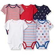 Amazon Essentials Baby 6-Pack Short-Sleeve Bodysuit, Uni Americana, Newborn