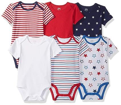 a49af31b9821 Amazon.com  Amazon Essentials Baby 6-Pack Short-Sleeve Bodysuit ...