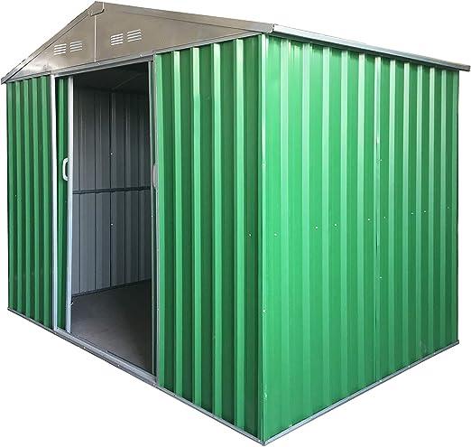 Eurobrico - Caseta de Garaje de jardín para Herramientas de Chapa galvanizada de 0, 27 mm, barnizada de Color Verde con Puertas correderas: Amazon.es: Jardín