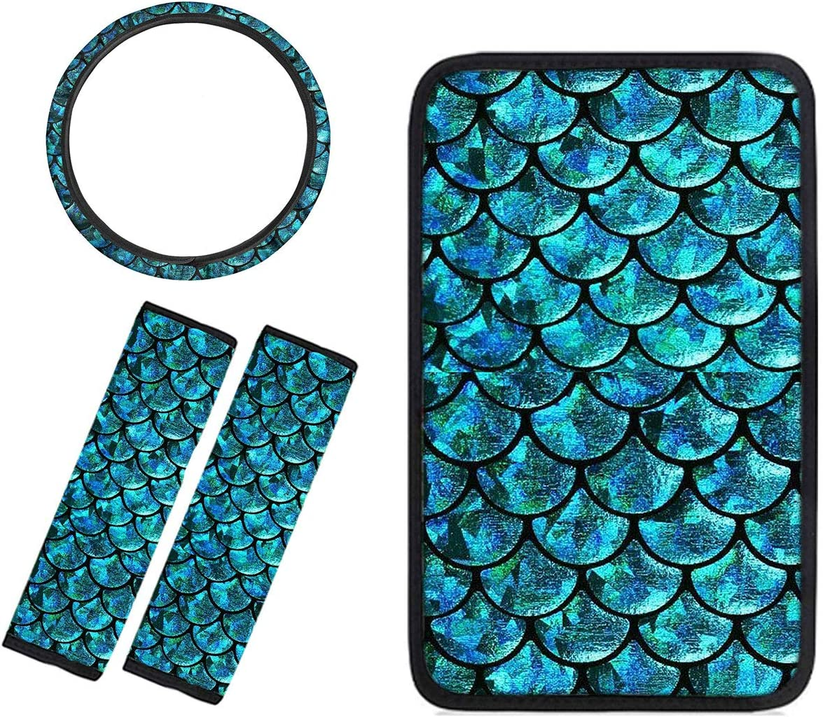 Advocator Car Center Console Cover+Seat Belt Cover+Steering Wheel Cover Protector Comfortable Car Interior Decor 4pc Full Set,Tropical Style (Mermaid Fish Scale)