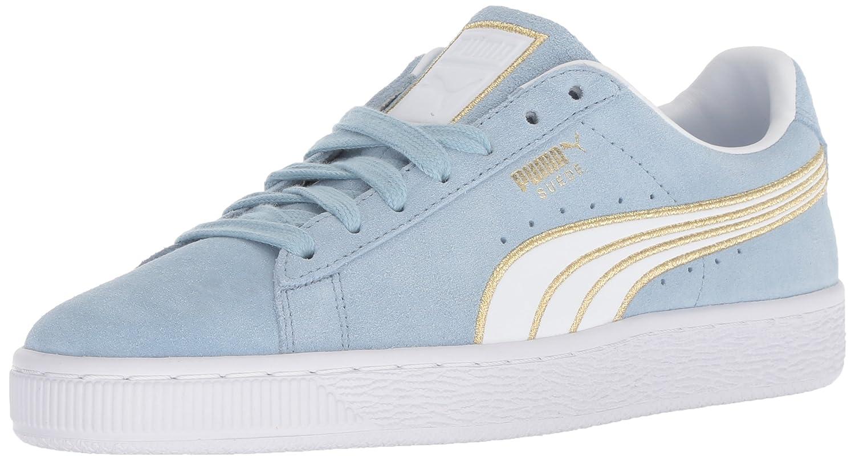 PUMA Women's Suede Varsity Sneaker B077SS2MPK 9 M US|Cerulean-puma White