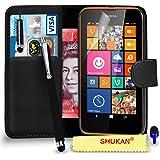 Nokia Lumia 635 Premium Leather Wallet noir flip écran Housse Pouch + Mini Stylus Pen + Big tactile Stylet + Protecteur & Chiffon PAR SHUKAN®, (Noir)