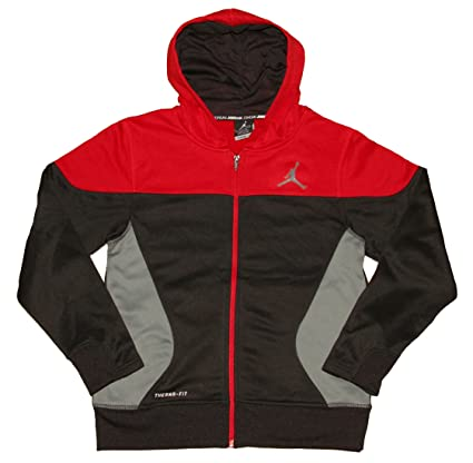 b6cb52bfe83fc6 Image Unavailable. Image not available for. Color  Nike Air Jordan Boys S  Flight Full-Zip Hoodie Sweatshirt Black Red ...