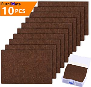 """Large Felt Furniture Pads 10 pcs Pack 6""""x 4"""" Big Furniture Pads Felt Pads Large Heavy Duty 5mm Thick Brown Anti Scratch Floor Protector for Hardwood Floor and 20 Rubber Bumpers"""
