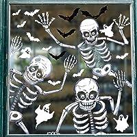Tuopuda 81 STKS Halloween Raamklempjes Stickers 10 Vellen Halloween Skelet en Ghost Window Stickers Dubbelzijdige…