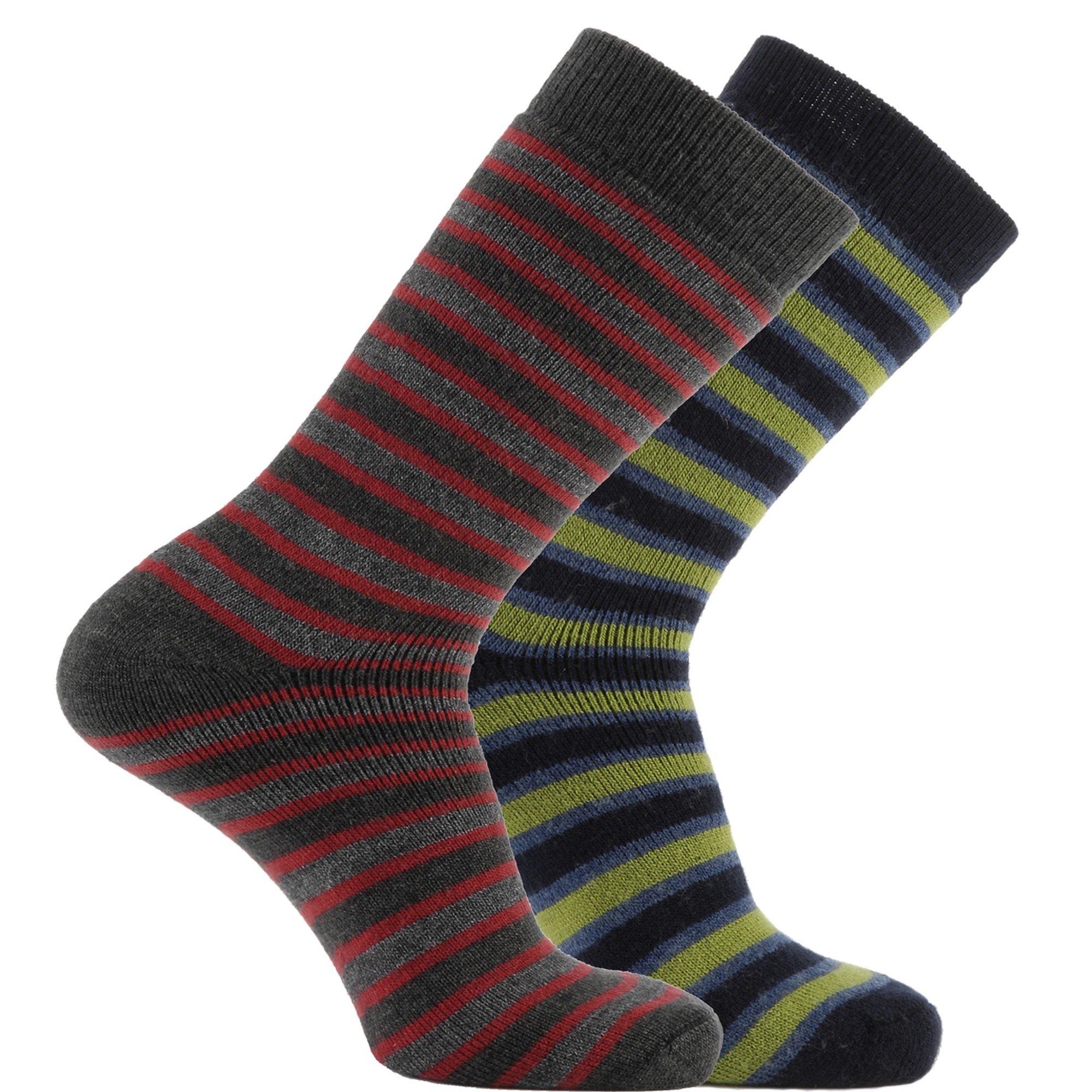 Horizon Unisex Deluxe Merino Outdoor Socks (Pack Of 2) (8.5-12.5 US) (Charcoal/Red & Navy/Green (Stripes))