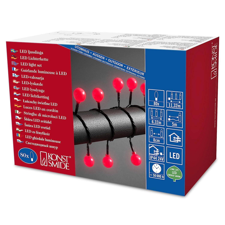 Konstsmide 3696-107 LED Globelichterkette mit groß en runden Dioden/fü r Auß en (IP44) / 24V Auß entrafo / 80 warm weiß en Dioden/schwarzes Kabel