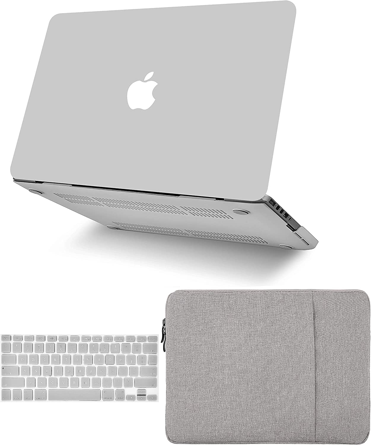 """KECC Laptop Case for MacBook Air 13"""" w/Keyboard Cover + Sleeve Plastic Hard Shell Case A1466/A1369 (Stone Grey)"""