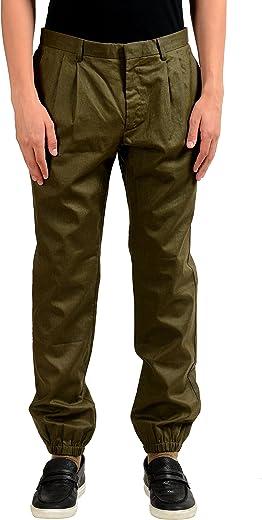 "Maison Martin Margiela""10"" Men's Olive Green Linen Coated Pants US 34 IT 50;"