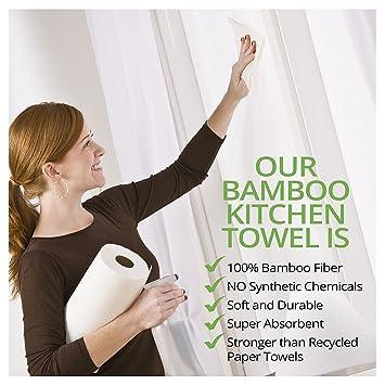 1 Paquete de Toallas de Rollo de Cocina De Bambú Orgánicas - Toallitas de Papel Ecológicas Absorbentes Seca Manos o Limpieza de Casa - Paños, Accesorio de ...