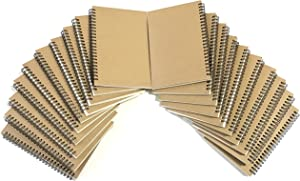 VEEPPO A5 Wirebound Notebooks Bulk Journals Spiral Steno Pads Blank/Lined Kraft Brown Cardboard Cover Thick Cream Writing Pad Sketchbook Scrapbook Album (Blank White Sketch Paper---Pack of 20)