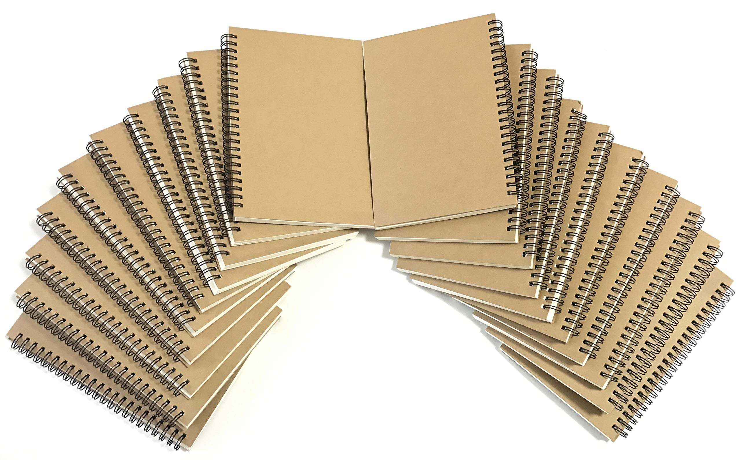 VEEPPO A5 Wirebound Notebooks Bulk Journals Spiral Steno Pads Blank/Lined Kraft Brown Cardboard Cover Thick Cream Writing Pad Sketchbook Scrapbook Album (Blank White-Pack of 20)