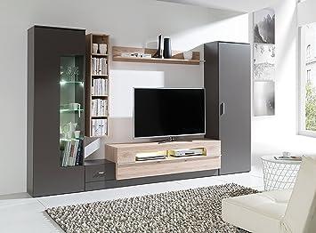 HomeDirectLTD Wohnwand Eric Anbauwand Möbel Schrank Schrankwand Wohnzimmer  Modernes Design Schwarzgrau/San Marino (Korpus