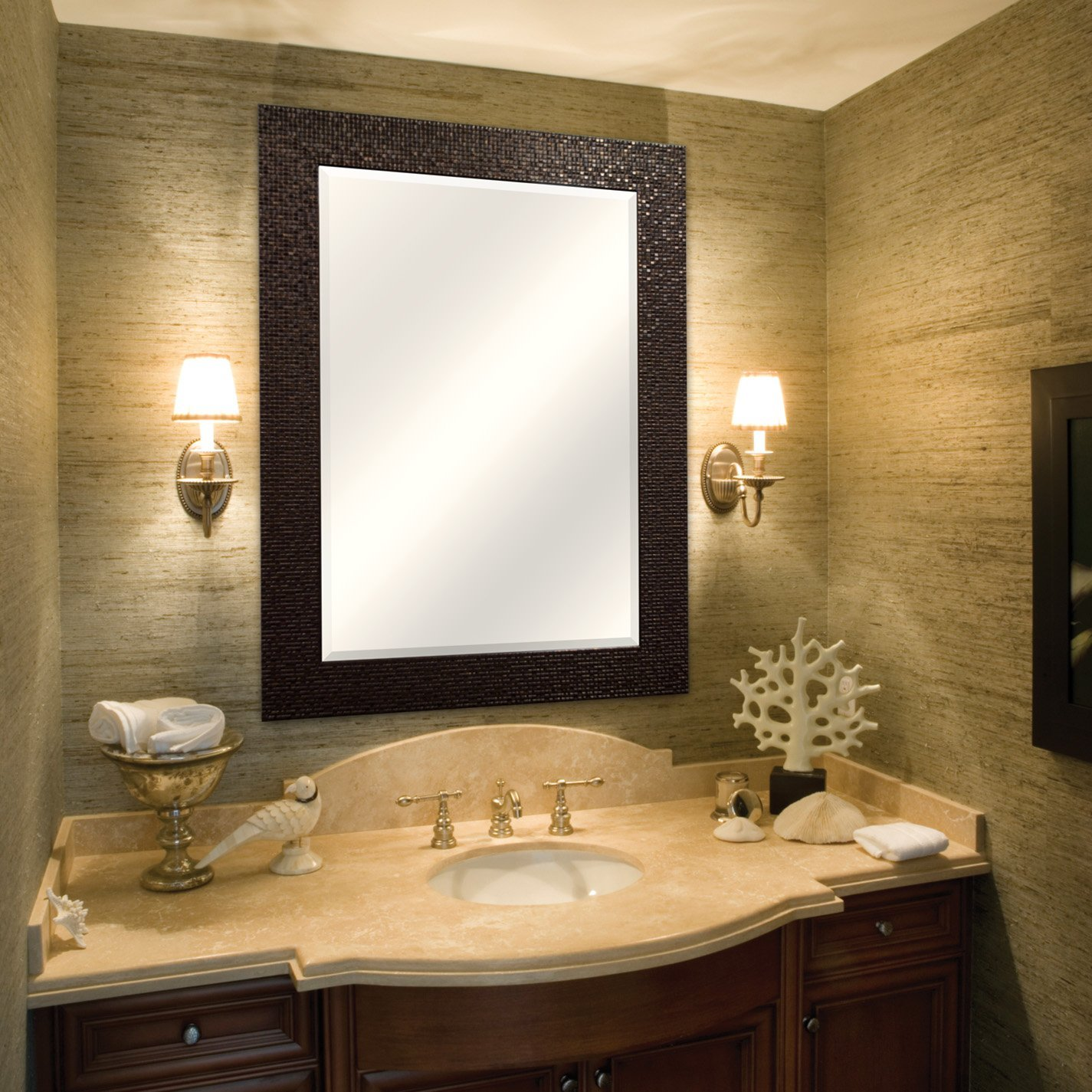 amazon com mcs 24x36 inch embossed tile wall mirror 32x44 inch