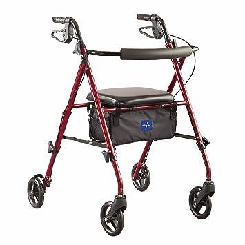 Medline Freedom Mobility Lightweight Folding Aluminum Rollator Walker with  6-inch Wheels, Adjustable