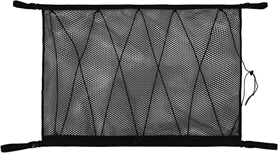 Pexmmy SUV Ceiling Cargo Net PocketCar Net Ceiling Storage Netting Pocket Double Layer High Elastic Simple Breathable Mesh Zipper Storage Bag Fit for SUV Truck Mini Vans 35.4 x 25.5inches