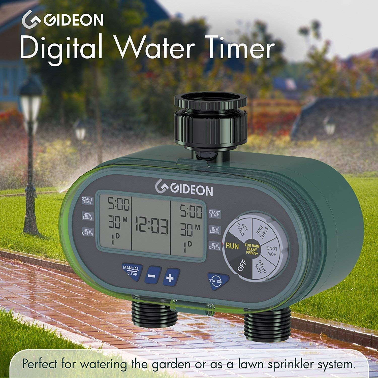 Battery Powered Gideon Dual Digital Valve Water Hose Irrigation Sprinkler Controller System with Automatic Timer