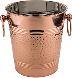 "Old Dutch ""Fez"" Decor Copper Hammered Wine Cooler, Copper 9.25"" x 8"" x 8.25"""