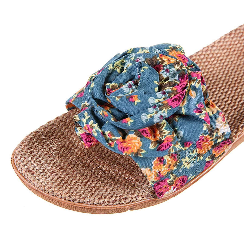 Carrie 2019 Hot Marketing Summer Bathroom Slipper Indoor Home Women Shoes Hemp Sandals Flower Decoration Shoe Girl