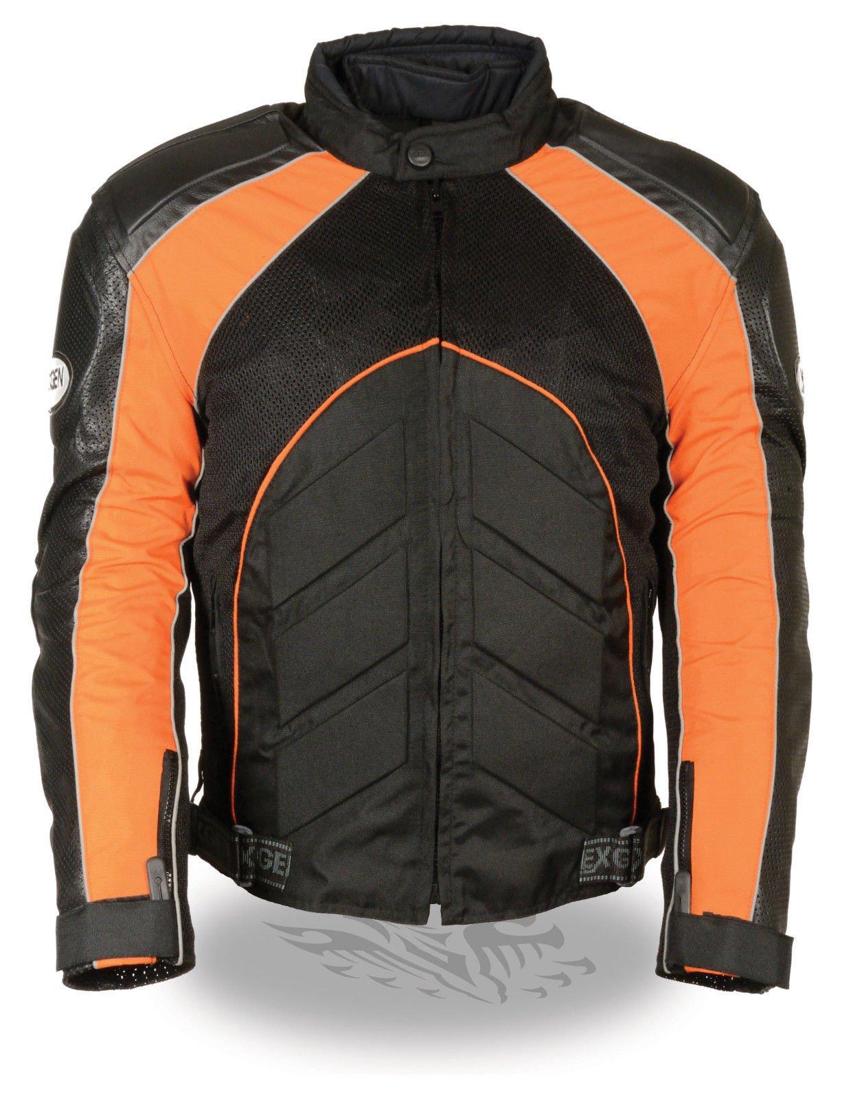 Men's Motorcycle BLK/Orange Mesh/Leather combo textile jacket with armors inside (3XL Regular)
