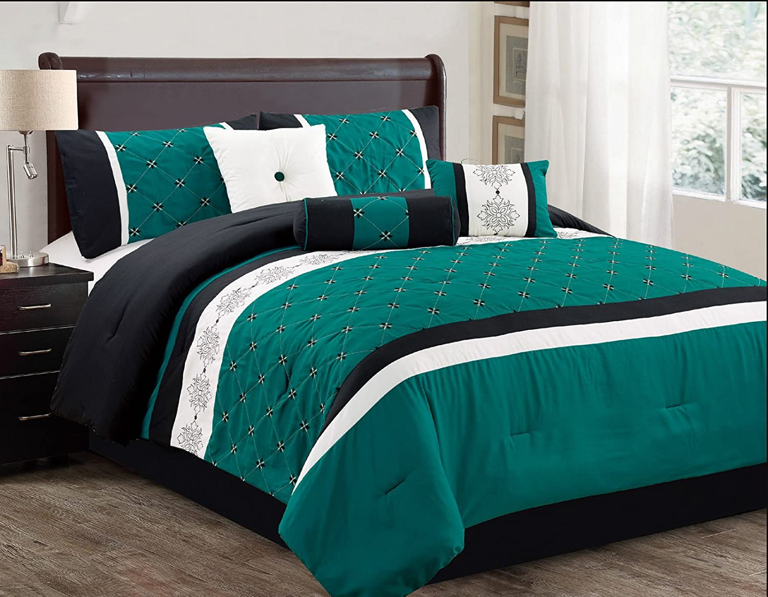 Sabrina 7 Piece Embroidered Comforter Set Teal & Black (King