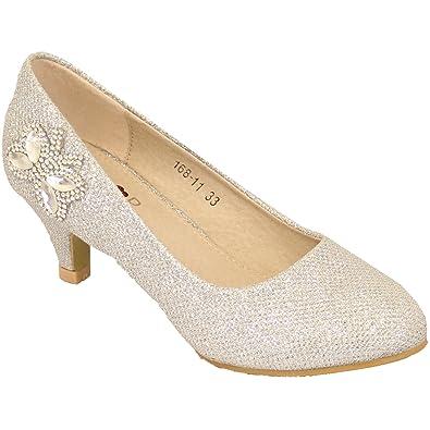 e64260e1804 N/A Girls Kids Diamante Kitten Heel Shoes Rhinestone Glitter Butterfly  Casual