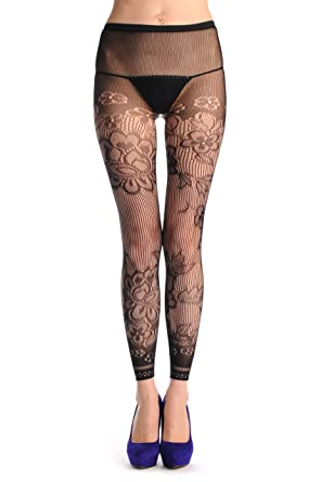 c60d9ff82b23e Violett Flower With Lace Trim Footless Fishnet - Black Fishnet Floral Opaque  Tights Footless: Amazon.co.uk: Clothing