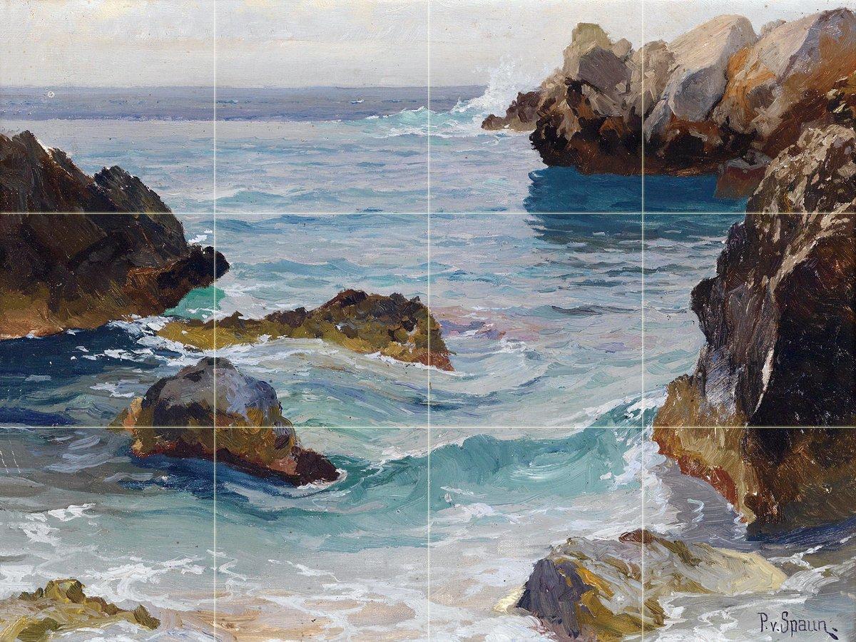 Seascape Sea Rocks by Paul von Spaun Tile Mural Kitchen Bathroom Wall Backsplash Behind Stove Range Sink Splashback 4x3 6'' Ceramic, Glossy by FlekmanArt