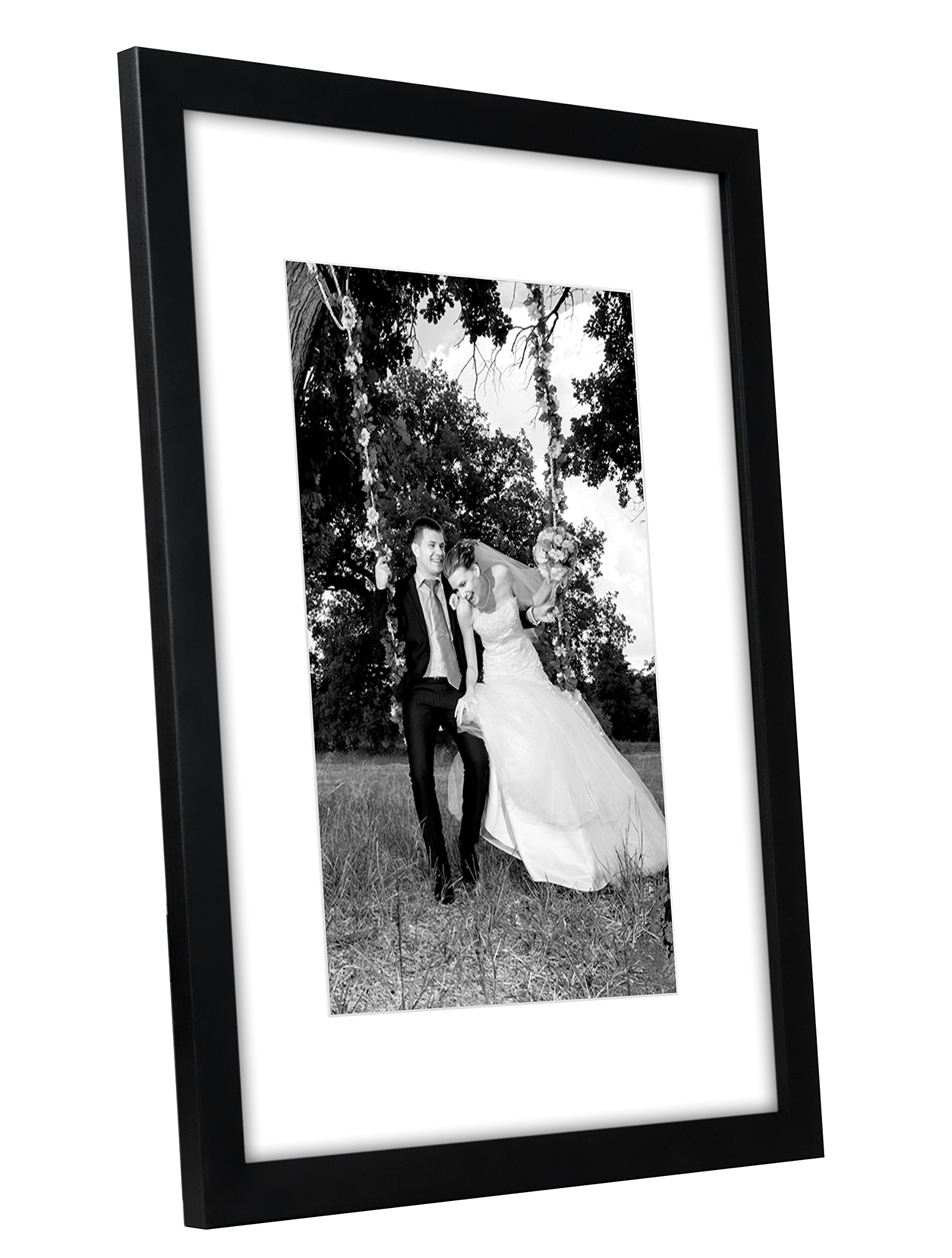 12x16 Black Picture Frame Matted To Fit Pictures 8x12