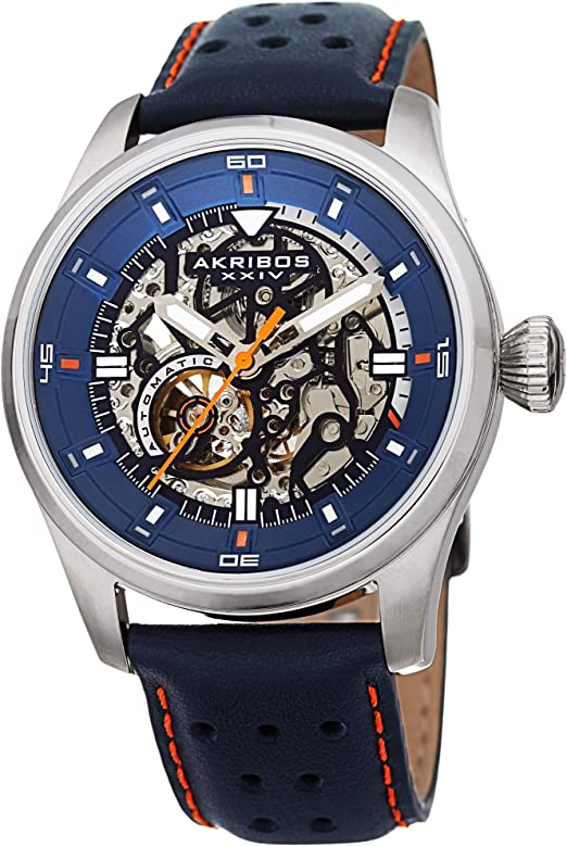 Amazon.com: Father's Day Gift - Akribos Automatic Mechanical Skeleton Watch  – Crocodile Embossed Genuine Leather Strap – Automatic Mechanical  Skeletonized Wristwatch See Through Dial - AK1020 (Silver/Blue): Watches
