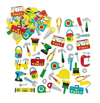 Baker Ross- Pegatinas de Espuma con Diseños de Herramientas (Pack de 120) para Decorar Tarjetas, Cuadernos, Manualidades y Collages Infantiles: Amazon.es: Industria, empresas y ciencia