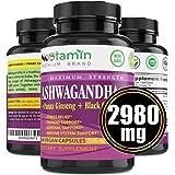 Ashwagandha 2980 mg - 60 Vegan Capsules Pure Organic Powder & Root Extract + Panax Ginseng + Black Pepper - Natural Stress An