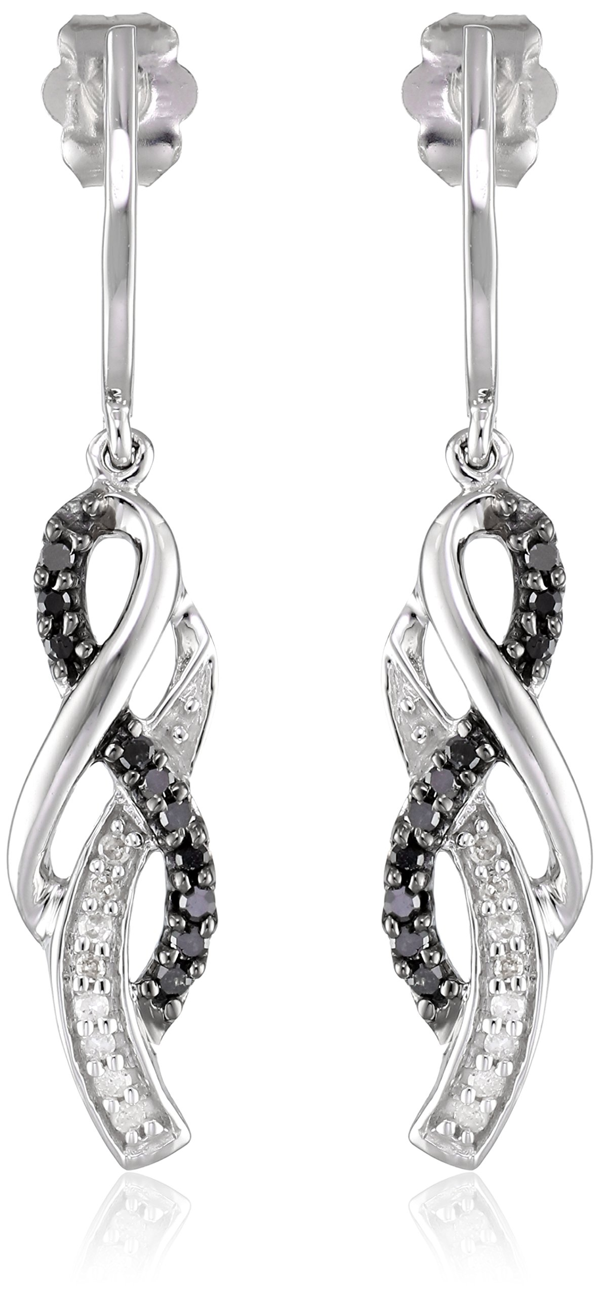 10K White Gold Black and White Diamond Infinity Earrings (1/4 cttw)