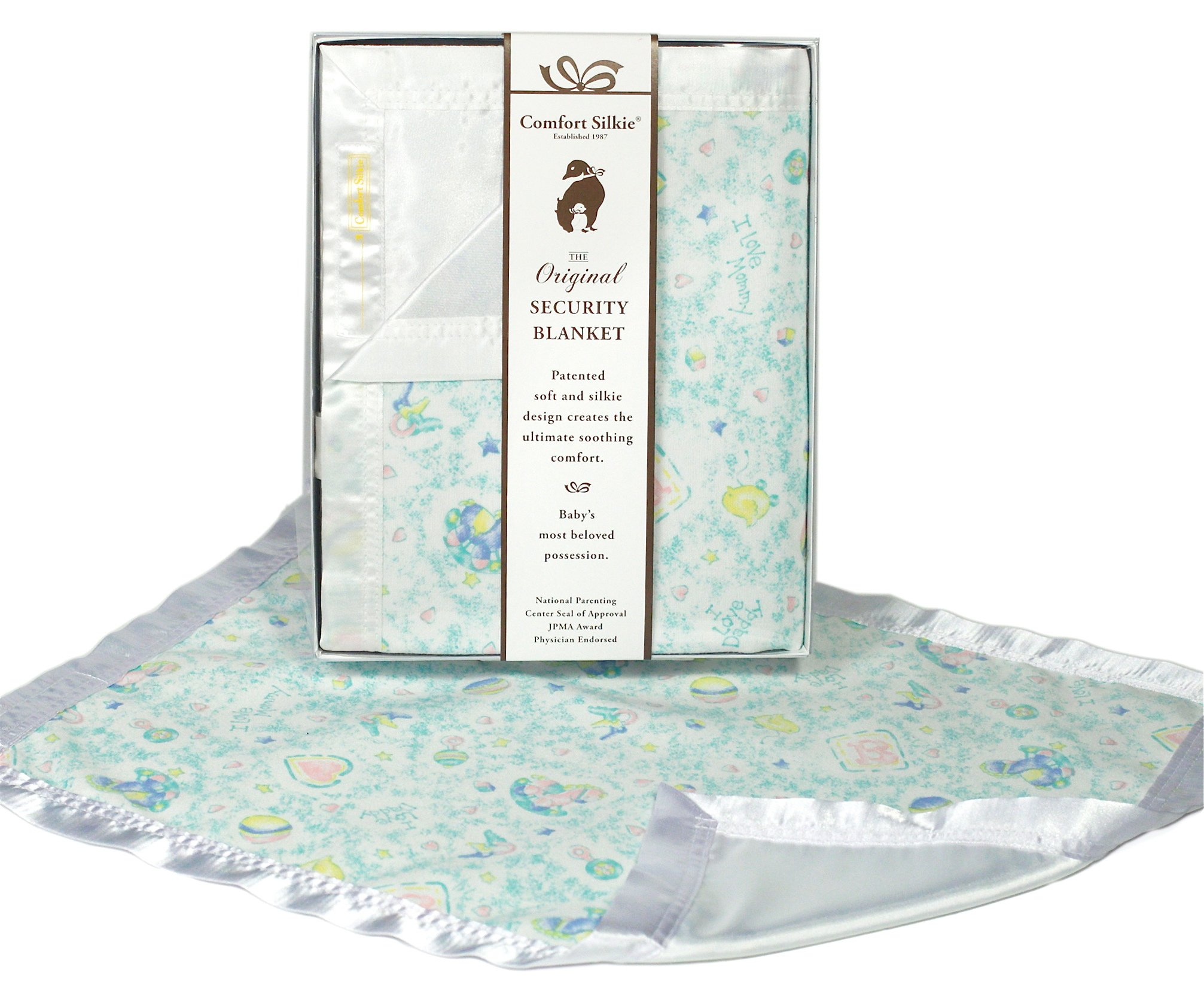 I Love Mommy, I Love Daddy Security Blanket (Pastel) by Comfort Silkie