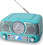 TechPlay QT62BT, Retro Design Compact Stereo CD, with AM/FM Rotary knob,
