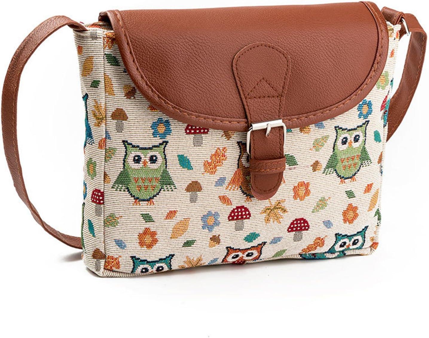 Nawoshow Fashion Women Lady Many Owl Satchel Cross-Body Bag Shoulder Bag Messenger Bag (C)