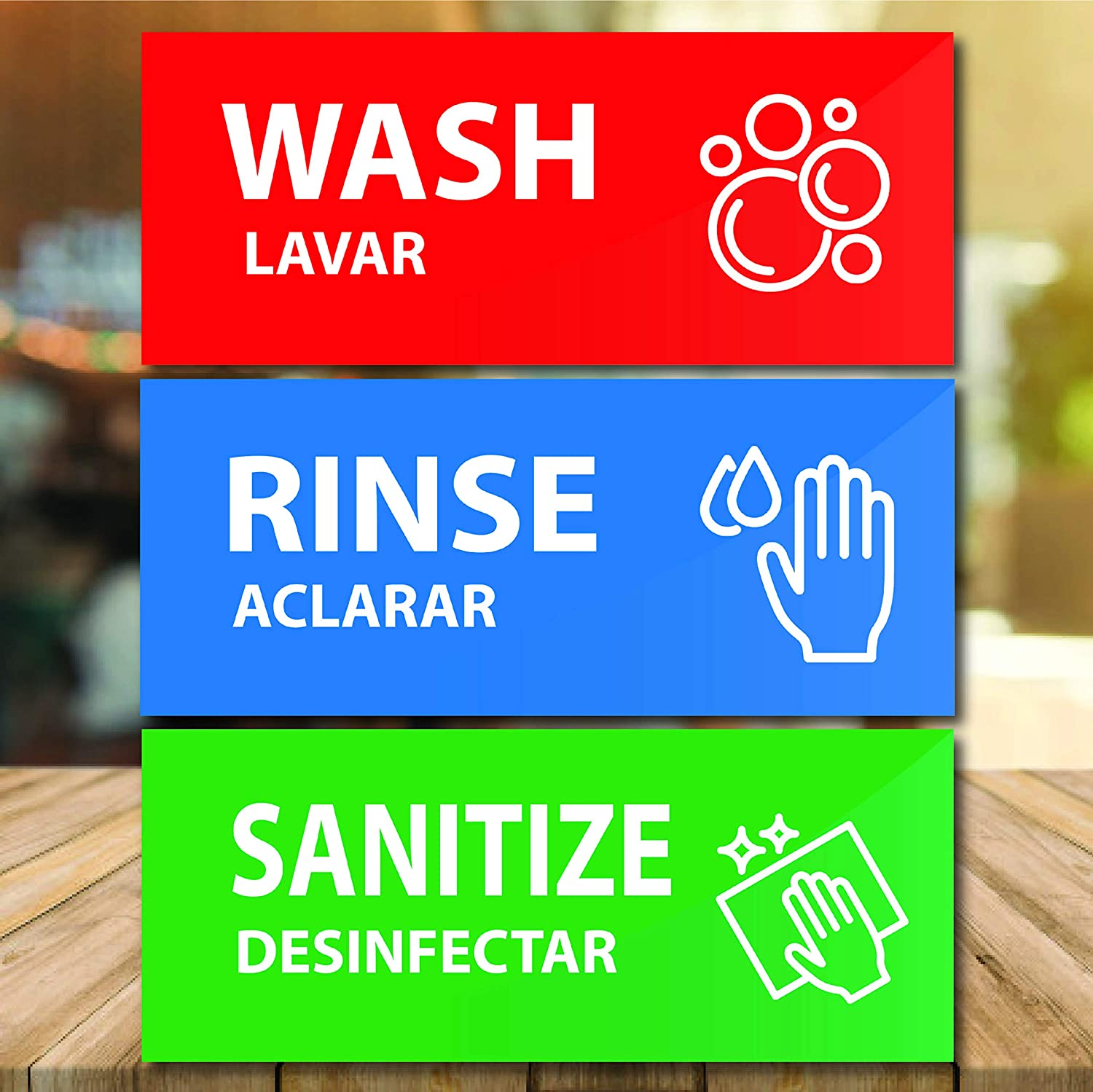Wash Rinse Sanitize Sink Labels Self Adhesive Sign for 3 Compartment Sink